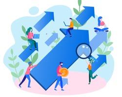 Concept career growth, career, start up, for web page, banner, presentation, social media, take-off on the career ladder. Vector illustration