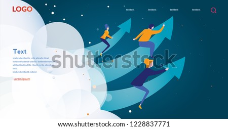 Concept career growth, career, start up, for web page, banner, presentation, social media, take-off on the career ladder. Vector illustration, Managers, Leadership, Successful, Achievement.