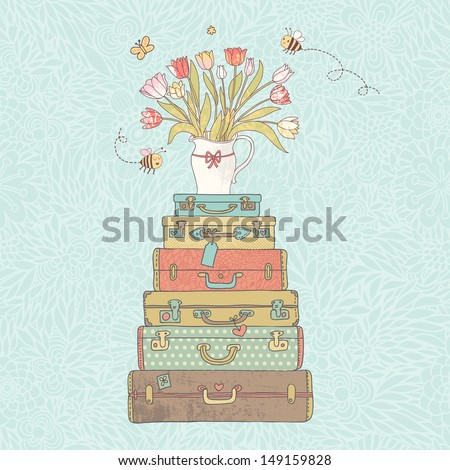 Concept cartoon card in vector. Cases with beautiful tulips in vase. Vintage travel concept background.  #149159828