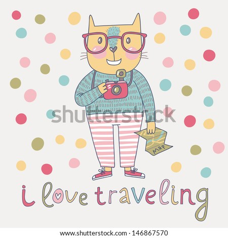 Concept cat hipster in cartoon funny style. Vector childish card with funny cat. Travel concept in bright colors: cat with glasses, map and camera