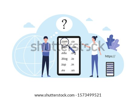 Concept choice domain name registration. A pensive man with a hand near the sub-gate decides which domain to choose for his website, online store, blog, landing page. Flat vector illustration isolated Photo stock ©