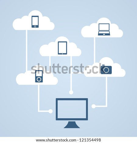 Concept cloud storage and data synchronization of music, photos, video and other files. - stock vector