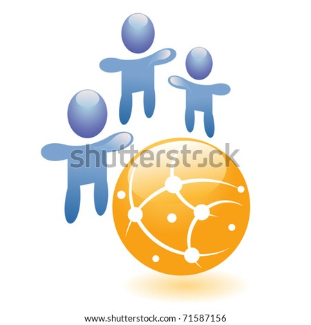 Concept connection vector symbol, abstract people together with hands up, graphic social network icon or friend group internet community. - stock vector