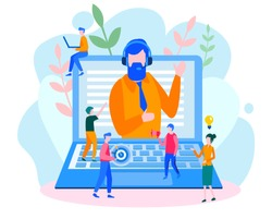 Concept customer and operator, online technical support 24/7 for web page, banner, presentation, social media, documents, cards, posters. Vector illustration male hotline operator advises client