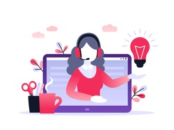 Concept customer and operator, online technical support 24-7 for web page. Vector illustration female hotline operator advises client. Online assistant, virtual help service.
