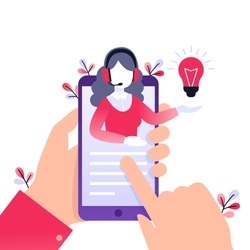 Concept customer and operator, online technical support 24-7 for web page. Vector illustration female hotline operator advises client. Online assistant, virtual help service on smartphone.