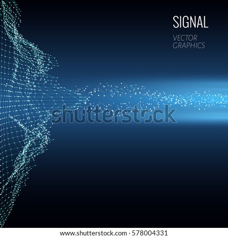 Concept design of signal emitting in space. Vector illustration.