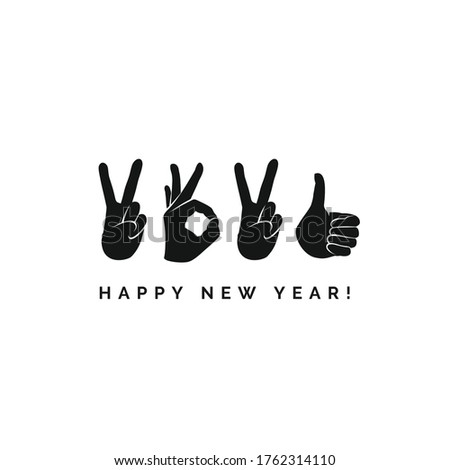 Concept design with fingers. Happy New Year 2021 logo text design. Sign of Victory and sign of OK. Freedom, good, peace, excellent, like. Best wishes. Unusual modern presentation. Great ides.