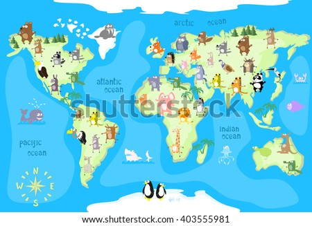 Funny world map vector download free vector art stock graphics concept design world map with animals of all the continents and oceans drawing in funny cartoon gumiabroncs Images