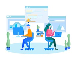 Concept development team, design process , People brainstorming for web page, banner, social media, documents. Vector illustration mobile application web development, team work, start up, project