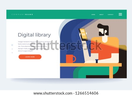 Concept digital and online libraries. Mobile library of books in the smartphone phone app bookstore. Homepage. Header for website. Vector flat illustration.