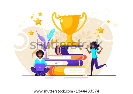 Concept distance learning, education, business goal, idea, online courses, education, online books for web page, presentation, social media. Vector illustration, best score winner prize, successful