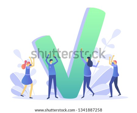 Concept done job, finished project , online quiz, completed things or done test, feedback, approved choice, idea of task done, for web page, banner, presentation, social media, documents, cards