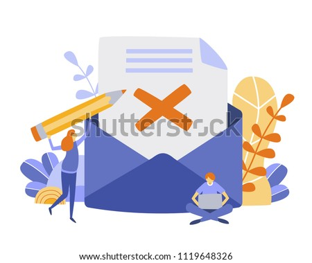 Concept envelope with rejected letter,delete letter, spam, unsubscribe, College rejected admission or employment for web, banner, presentation, documents, cards, posters. Vector illustration