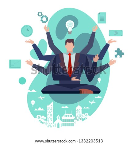 Concept Flat illustration. Businessman with multitasking skills. Man in suit with many arms working on different tasks at the same time. Time management and self improvement.