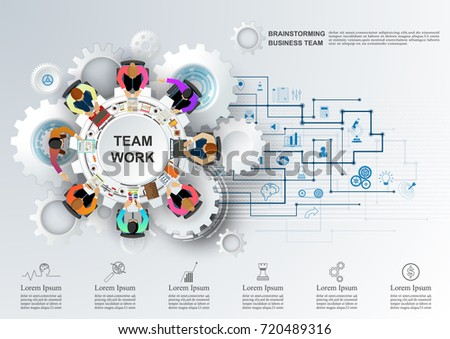 Concept for business teamwork.solution and innovation analysis and consulting, project management, financial report and strategy team . vector illustration.