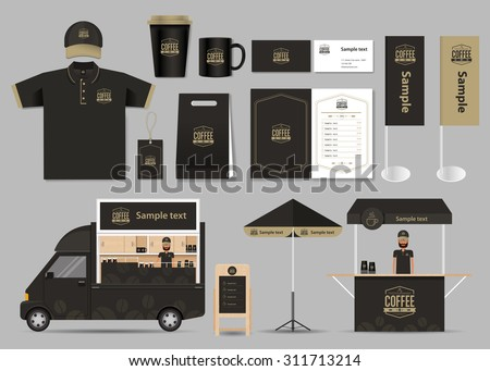 concept for coffee shop and  restaurant  identity mock up template. card .menu.t- shirt.vector
