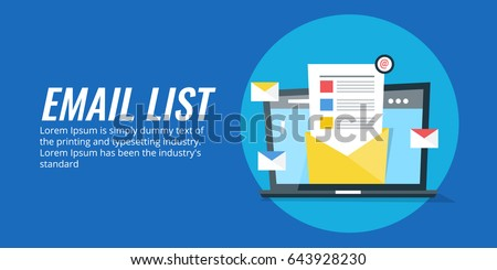 Concept for email list, mailing list, contact list flat vector banner with icons isolated on blue background