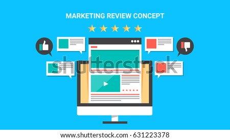 Concept for Marketing review, website rating, customer feedback flat design vector isolated on blue background