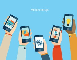 Concept for mobile apps, Flat design vector illustration.