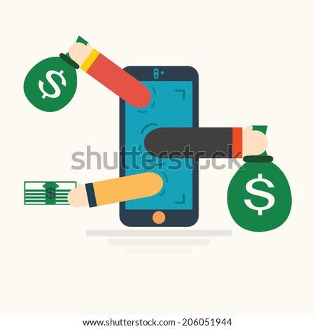Concept for mobile apps,internet banking,vector illustration.