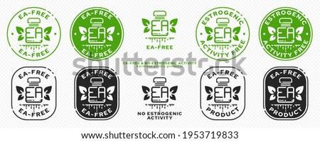 Concept for plastic products. Labeling - no estrogenic activity. A plastic EA bottle with leaves wings and a flowing line - a symbol of freedom from estrogenic activity. Vector grouped elements. Photo stock ©