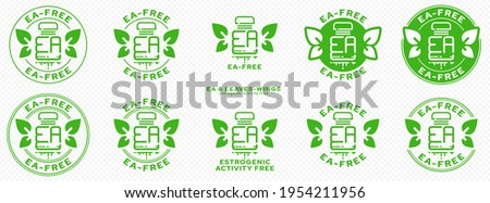 Concept for plastic products. Labeling - no estrogenic activity. A plastic EA bottle with leaves-wings and a flowing line - a symbol of freedom from estrogenic activity. Vector grouped elements. Photo stock ©