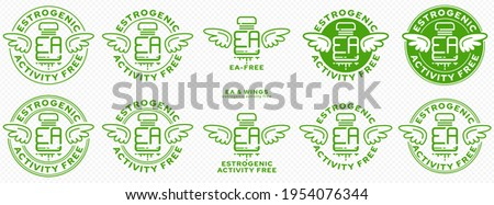 Concept for plastic products. Labeling - no estrogenic activity. A plastic EA bottle with wings and a flowing line - a symbol of freedom from estrogenic activity. Vector grouped elements.  Photo stock ©