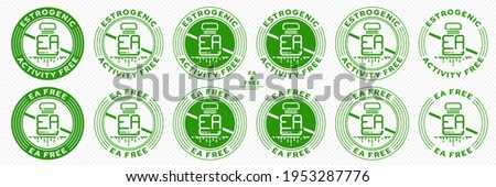 Concept for plastic products. Labeling - no estrogenic activity. The crossed out plastic EA bottle with a flowing line is a symbol of no estrogen activity. Vector grouped elements. Photo stock ©