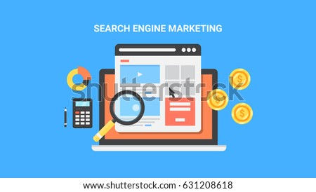 Concept for Search engine marketing, paid advertising, pay per click flat vector isolated on blue background #631208618