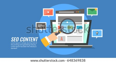 Concept for SEO content marketing, search optimization flat vector