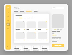 Concept for social media, online store, hotel reservation. Wireframes screens. Dashboard UI and UX Kit design. Use for mobile app or website.