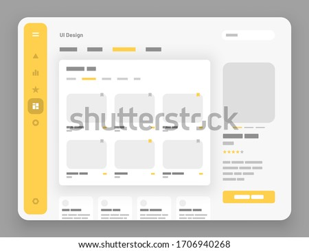 Concept for social media, online store, hotel reservation. Wireframes screens. Dashboard UI and UX Kit design. Use for mobile app or website. stock photo