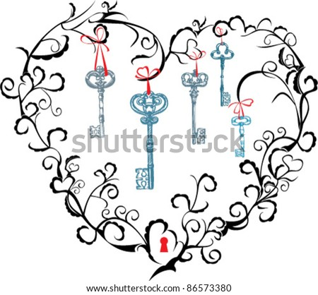 Concept for Valentine`s Day - heart, keyhole and keys - stock vector