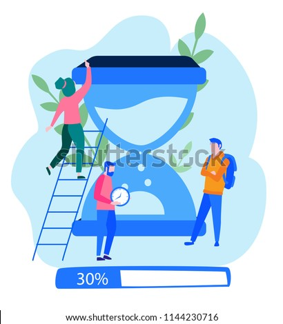 Concept for web page, banner, presentation, social media, documents, cards, posters.Time management concept planning, organization, working time. Loading bar Vector illustration, summer time, hot time