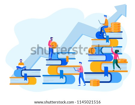 Concept for web page, banner, presentation, social media, documents, cards. Vector illustration successful team, financing of creative projects, investment in education, knowledge, e-learning, e-book