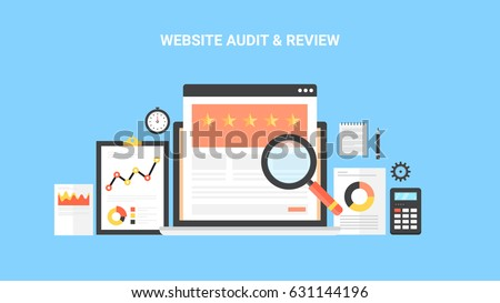 Concept for website audit, review, data research, and analysis flat design vector with elements isolated on blue background