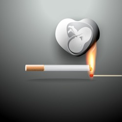 Concept for World no tobacco day, 31 May. Cigarette smoking during pregnancy can affect the development of baby and also more than doubles the risk of stillbirth. Vector illustration for stop smoking