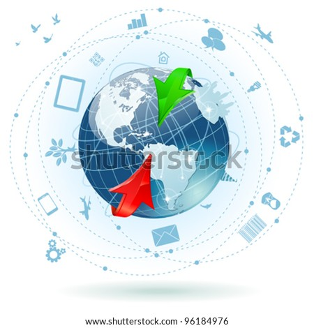 Concept Global Business with Earth, Arrow and a lot of business icons, vector illustration