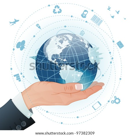 Concept Global Business - Woman Hand with Earth and a lot of Business Icons, vector illustration