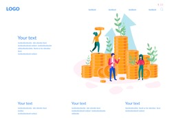 Concept growth your business, successful team, for web page, banner, presentation, social media, posters. Vector illustration financing, big profit, golden coins, teamwork, startup, Money Growth