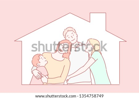 concept housing a young family. Mother father and child in new house with a roof. Hand drawn style vector design illustrations.