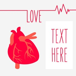 concept human heart is medicine flat design isolated and place for text on background. creative Love saves lives ekg shape vector cartoon. heartbeat in romantic cardiogram greeting card or postcard