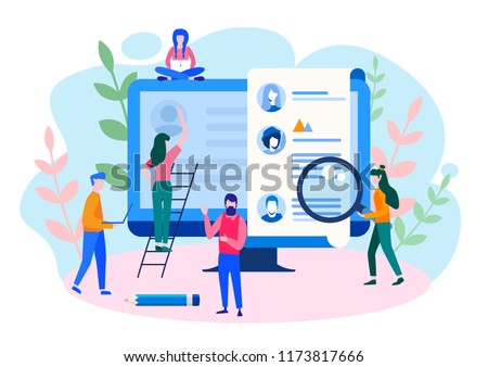 Concept Human Resources, Recruitment for web page, banner, presentation, social media, documents, cards, posters. Vector illustration filling out resumes, hiring employees, people fill out the form