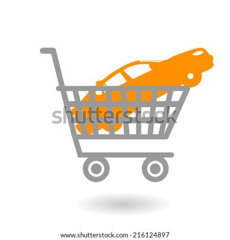 Concept icon. Car in shopping cart