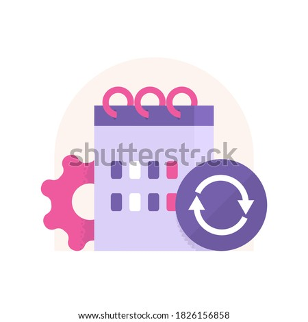 concept icon daily updates, automatic synchronization, refresh schedule. illustration of calendar, recycling symbol, gears. flat style. design elements