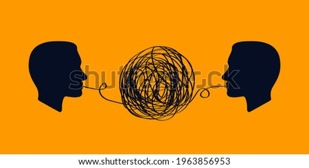 concept icon showing silhouette of human heads with tangled line outside. inability to come to agreement in problems business. concept of chaotic thought process, confusion, disorder, depression ストックフォト ©