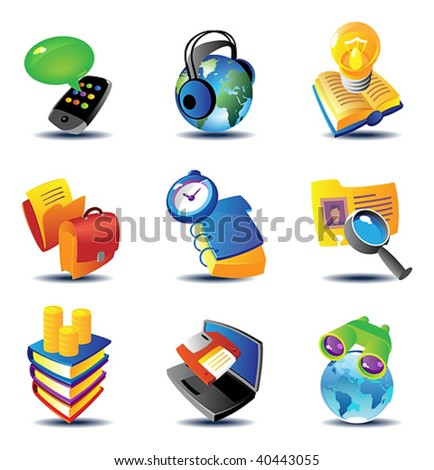 Concept icons for business communications and media. Vector illustration.