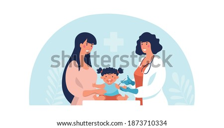 Concept illustration about vaccination of children, mother and child at the doctor s appointment. The pediatrician treats the baby. Flat vector illustration isolated on white background