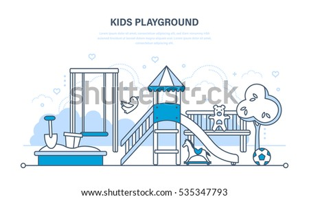 Concept illustration - children's entertainment playground, with a slide, benches, a sandbox, a swing and a recreation park. Illustration thin line design of vector doodles, infographics elements.